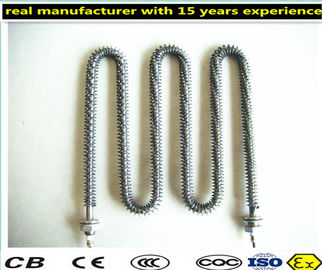China Immersion Type Finned Air Heater , Alloy PTC Tubular Electric Heating Element factory